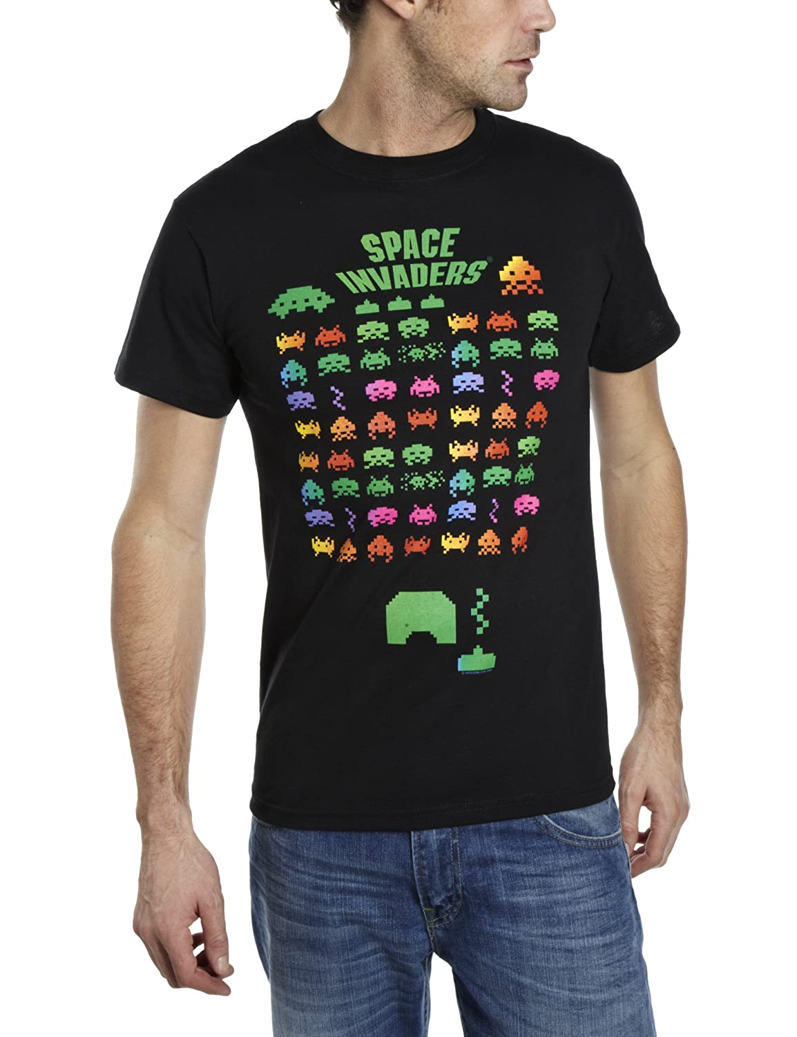 Amazon Com Space Invaders T Shirt Multi Color Black S Clothing