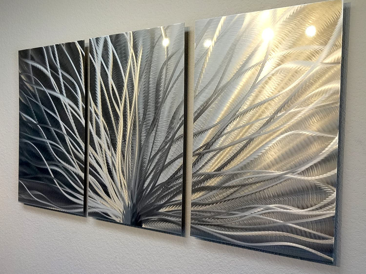 Metal Wall Art, Modern Home Decor, Abstract Wall Sculpture Contemporary-  Radiant Silver (3 Panel- 47