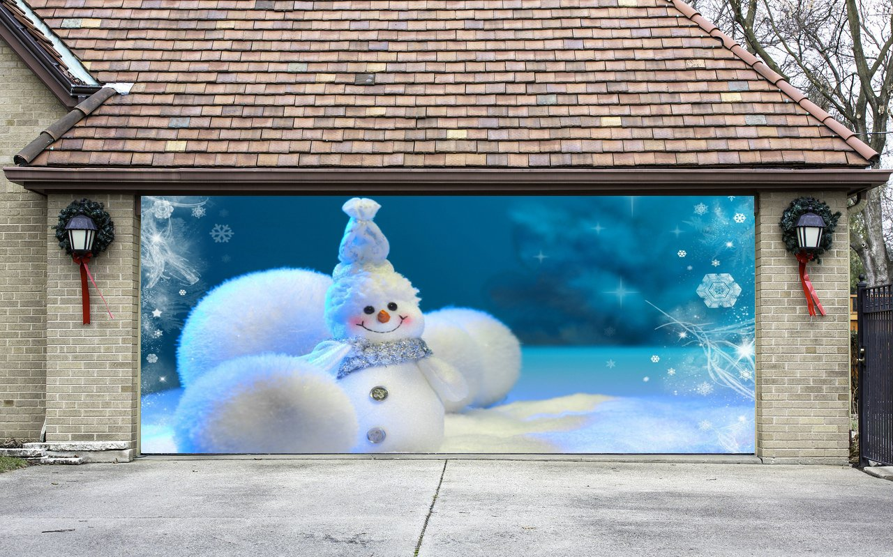 Christmas Garage Door Cover Banners 3d Snowman Holiday Outside Decorations Outdoor Decor for Garage Door G77