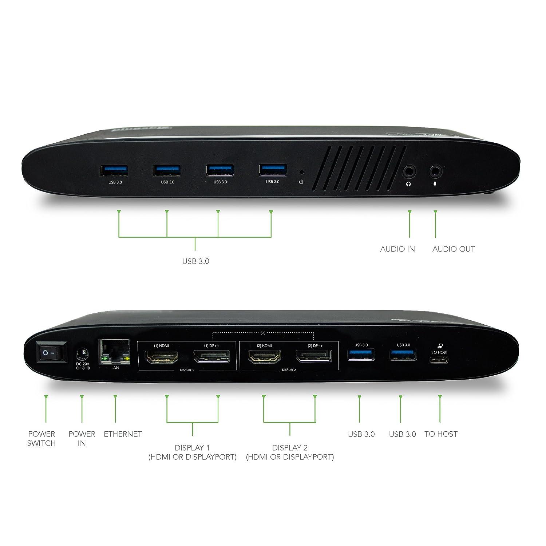 Dual 4K DisplayPort /& HDMI, Gigabit Ethernet, Audio, 6 USB Ports Plugable USB 3.0 Dual 4K Display Horizontal Docking Station with DisplayPort and HDMI for Windows