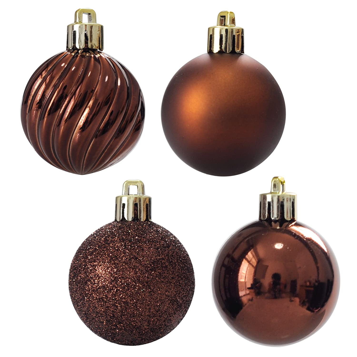 ITART 24pcs Christmas Tree Baubles Brown Assorted Christmas ...