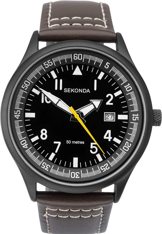 1517 Sekonda - Reloj analógico para hombre, correa de piel, color marrón oscuro