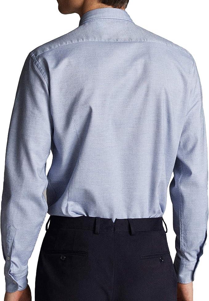 MASSIMO DUTTI 0115/132/403 - Camisa de algodón para Hombre (Mezcla de Oxford) Azul S: Amazon.es: Ropa y accesorios