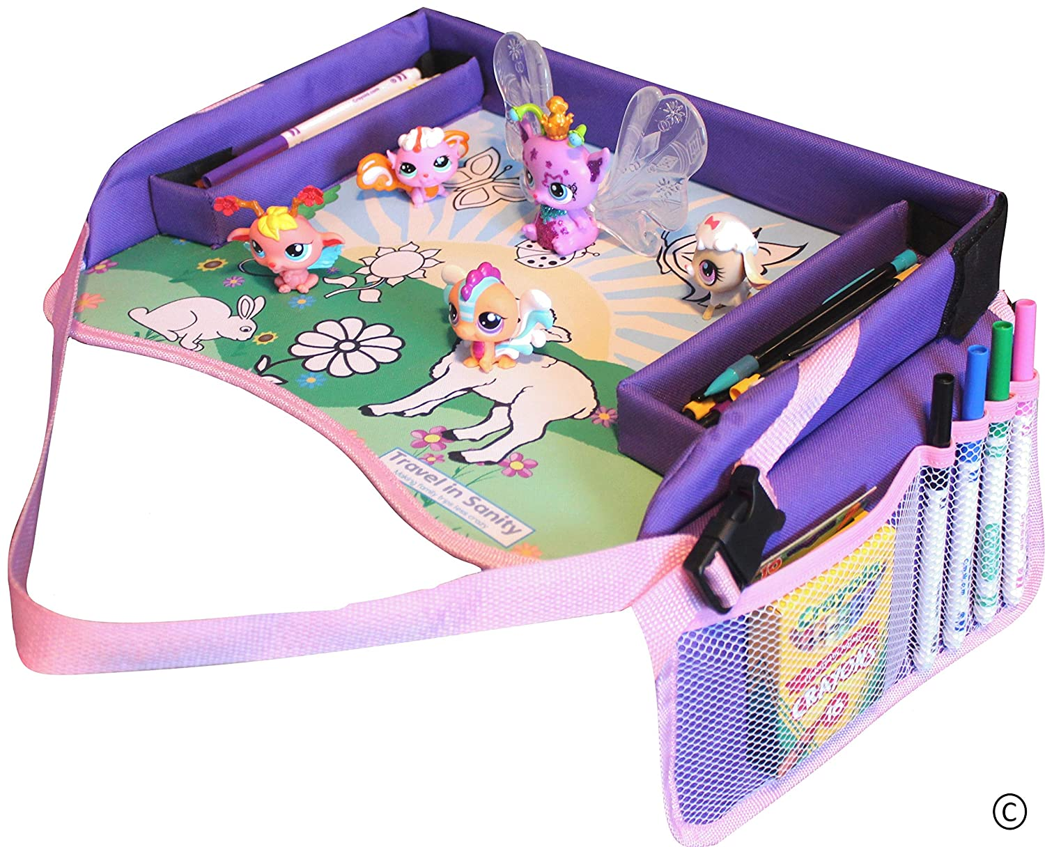 Kids Travel Tray for Car Seat | Perfect for Road Trip Games, Drawing Games or Travel Toys | Use as Car Seat Tray or Kids Lap Desk | Padded Sturdy Surface & Side Walls by Travel in Sanity TIS#323
