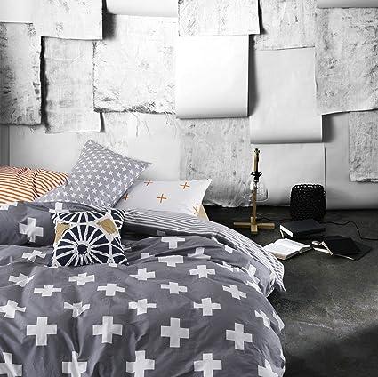 MZPRIDE Gray Cross Beding Set Gray Striped Duvet Covers Boys Bed Linen Twin