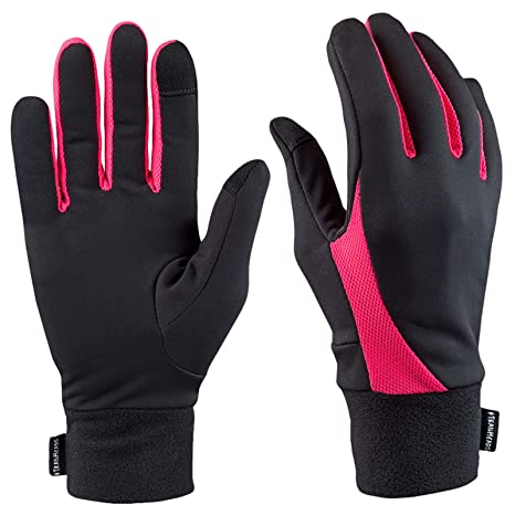d7c28c9b6 TrailHeads Running Gloves for Women | Lightweight Gloves with Touchscreen  Fingers -Black/Bright Coral