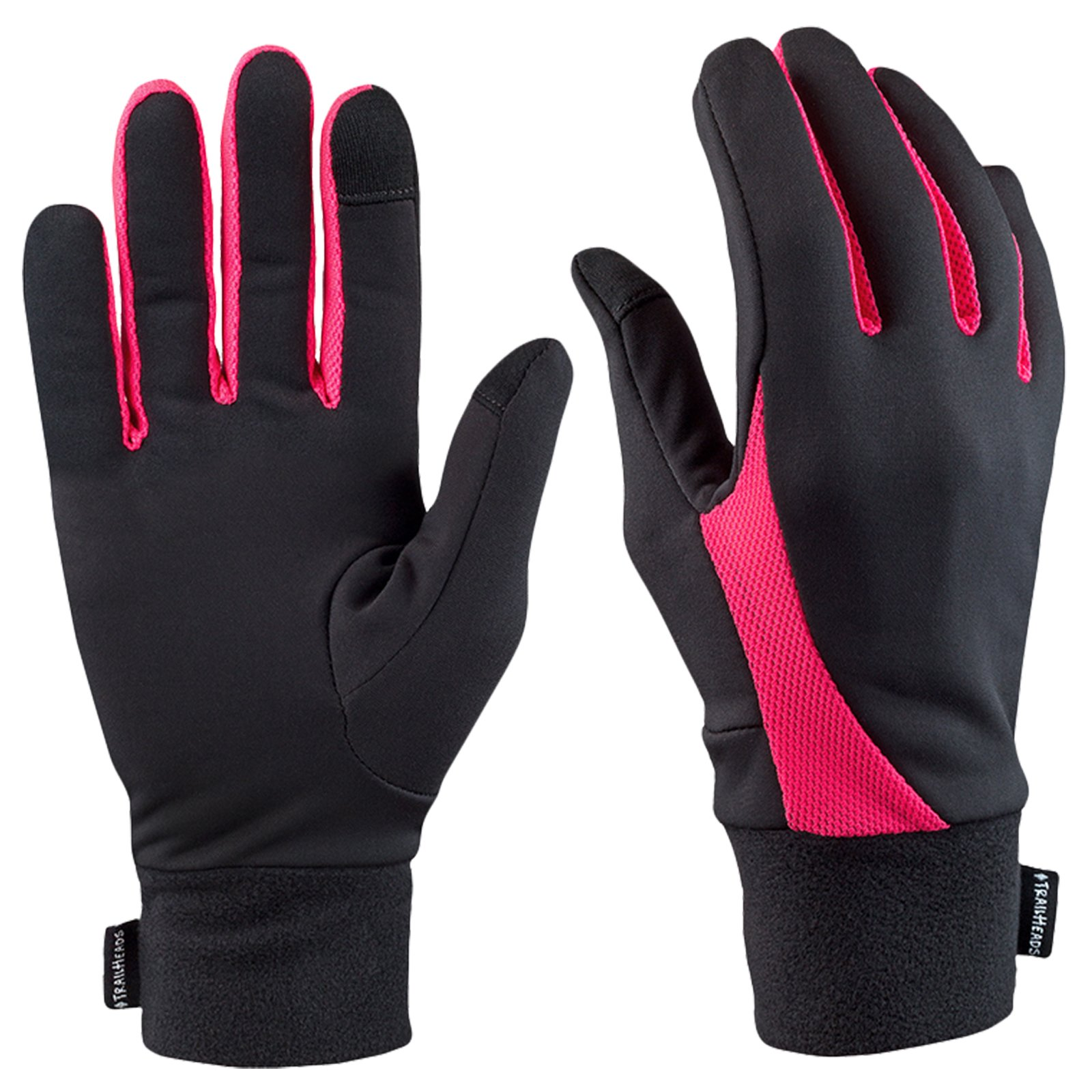 TrailHeads Running Gloves for Women | Lightweight Gloves with Touchscreen Fingers -Black/Bright Coral (Small)