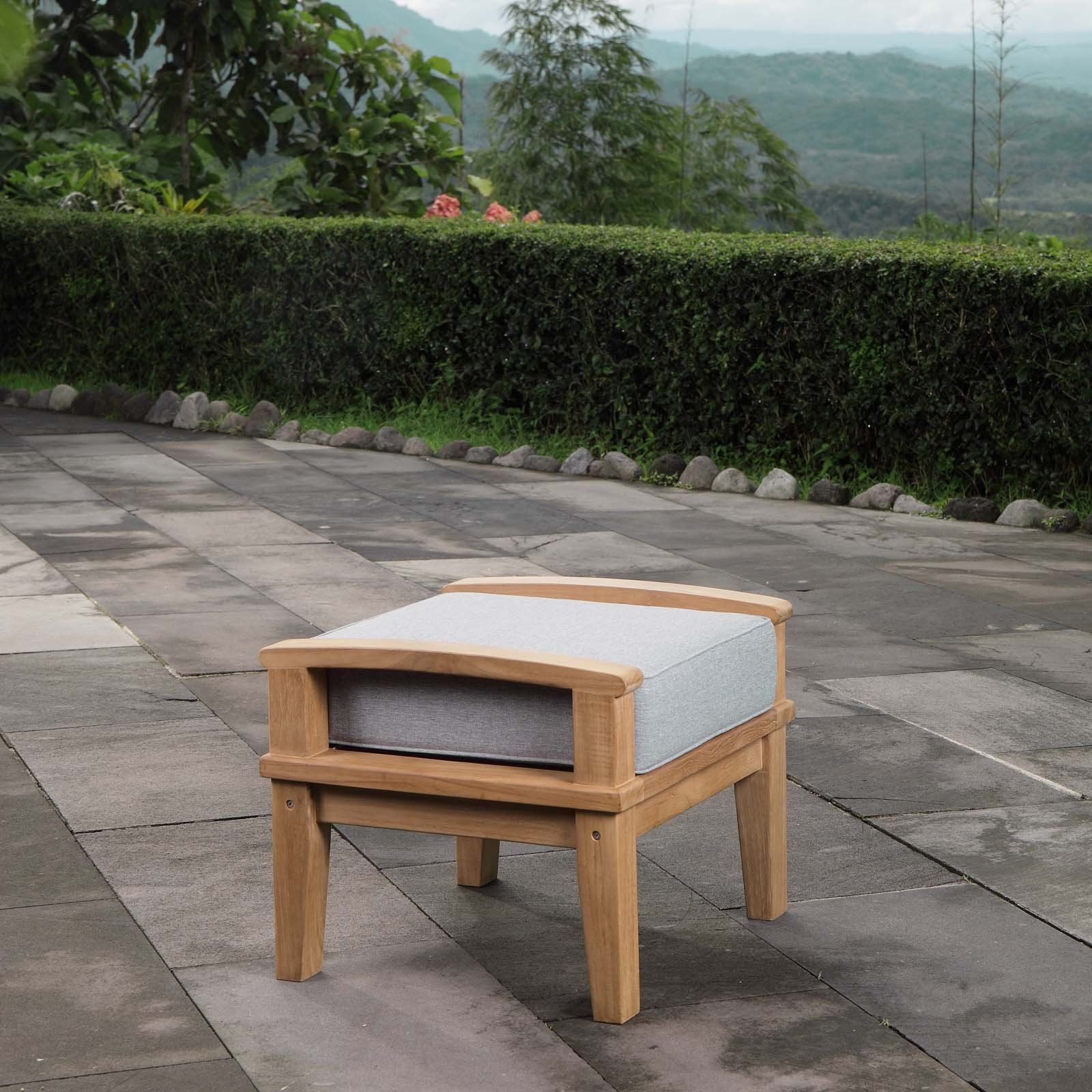 Modway EEI-1152-NAT-GRY-SET Marina Premium Grade A Teak Wood Outdoor Patio Ottoman, Natural Gray