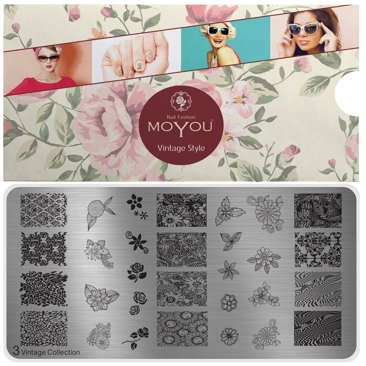 MoYou Tellern XL Vintage Collection 3, Florale Designs MoYou Nails