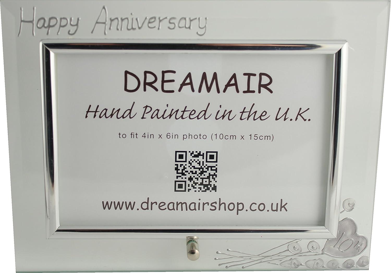 Amazon.com | 10th Tin Wedding Anniversary Wine Glasses and Photo ...