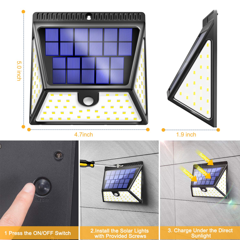 4 Piezas BAXiA Luz Solar Jard/ín L/ámparas Solares para Jard/ín Muros Exteriore Patios Terrazas Focos LED Exterior Solares con Sensor de Movimiento Luces Solares LED Exterior Impermeable