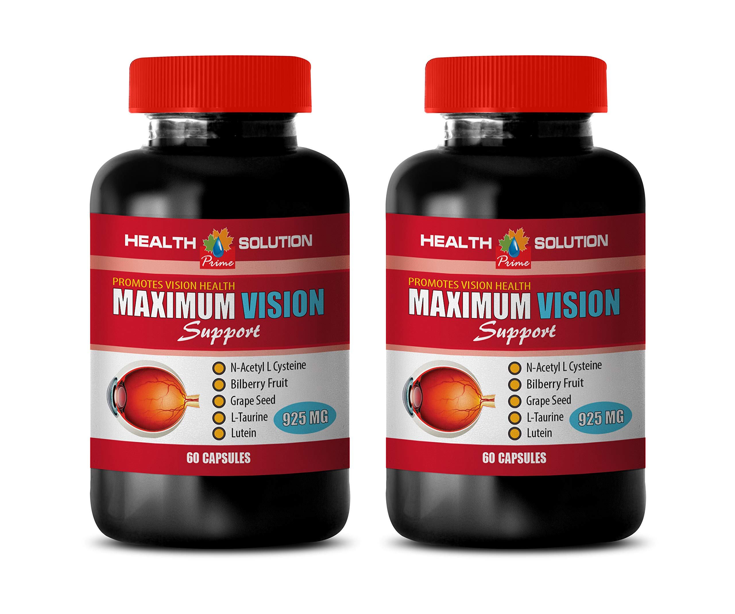 Vitamins for Eyes with Lutein and Bilberry - Maximum Vision Support - Promotes Vision Health - quercetin Complex - 2 Bottle 120 Capsules by Health Solution Prime