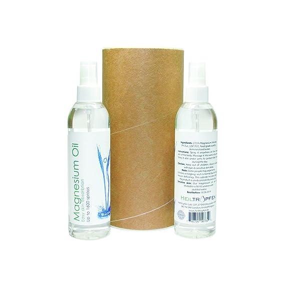 2x Aceite de magnesio - magnesio cloruro de aerosol. Grado farmacéutico. Alto Potente 27.5% Concentración - 2x 237ml, Dos Pack / Dos Botellas / Dos Cuenta: ...