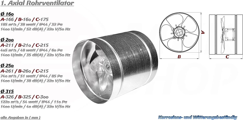 MKK Radial Rohrventilator /Ø 100 mm wei/ß Abluft Zuluft Rohrl/üfter Rohr L/üfter Absaugl/üfter Industriel/üfter Absaugung Dach Absaug Ventilator