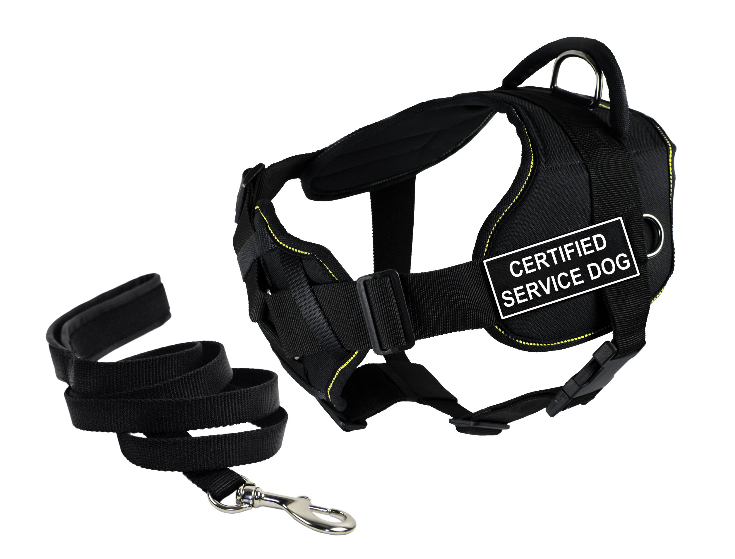 Dean & Tyler's DT Fun Chest Support ''CERTIFIED SERVICE DOG'' Harness, Medium, with 6 ft Padded Puppy Leash.