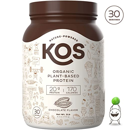 KOS Organic Plant Based Protein Powder - Raw Organic Vegan Protein Blend, 2.6 Pound, 30 Servings (Chocolate) best vegan protein powder