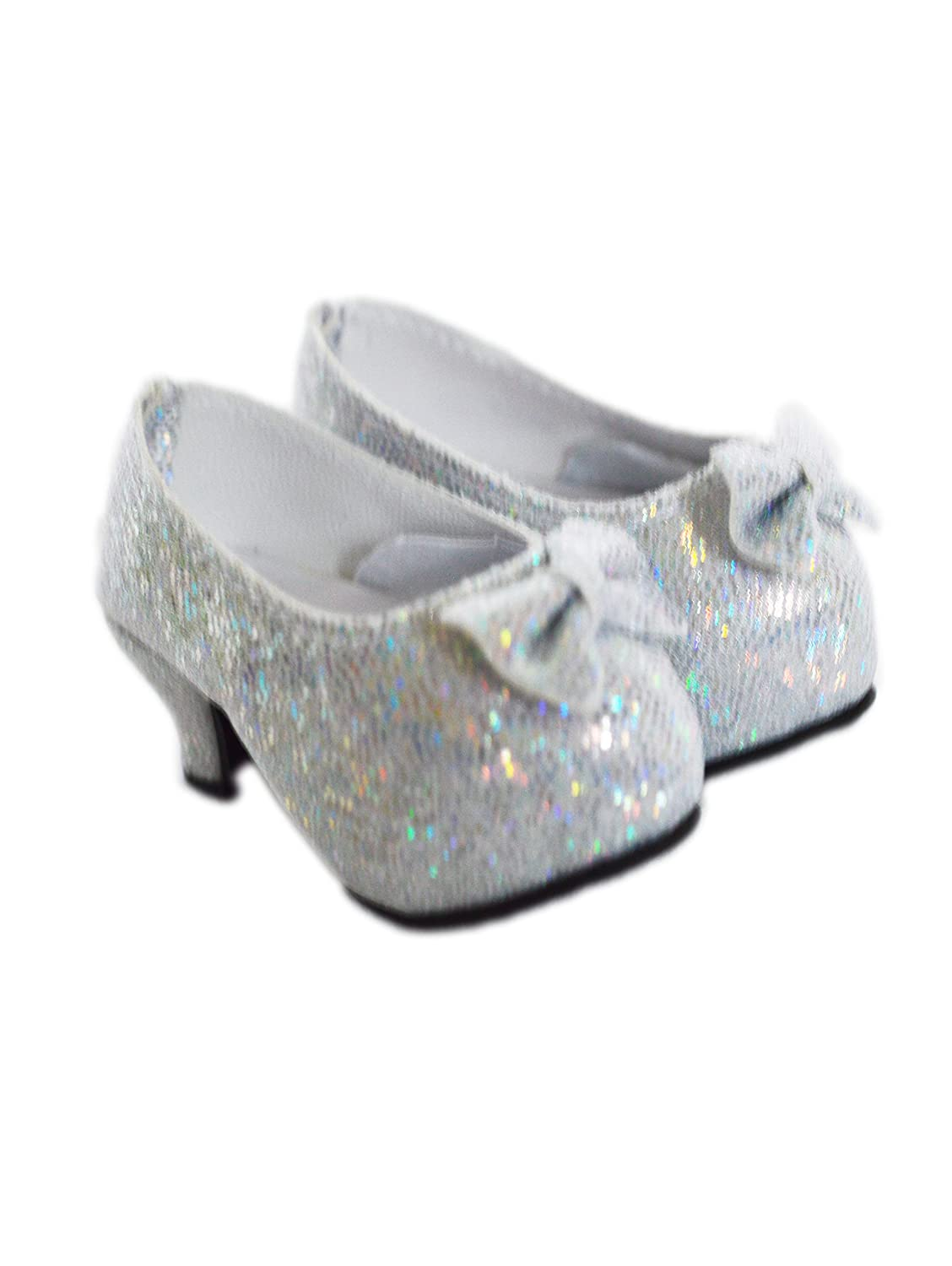 My Brittany's Silver Bow High Heel Shoes for Wellie Wisher Dolls Brittany' s
