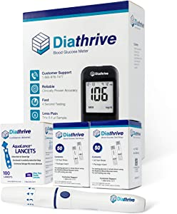Diathrive Diabetes Testing Kit – Diathrive Blood Glucose Meter, 100 Blood Test Strips, 1 Lancing Device, 30 Gauge Lancets-100 Count, Control Solution, Logbook, and Carrying Case