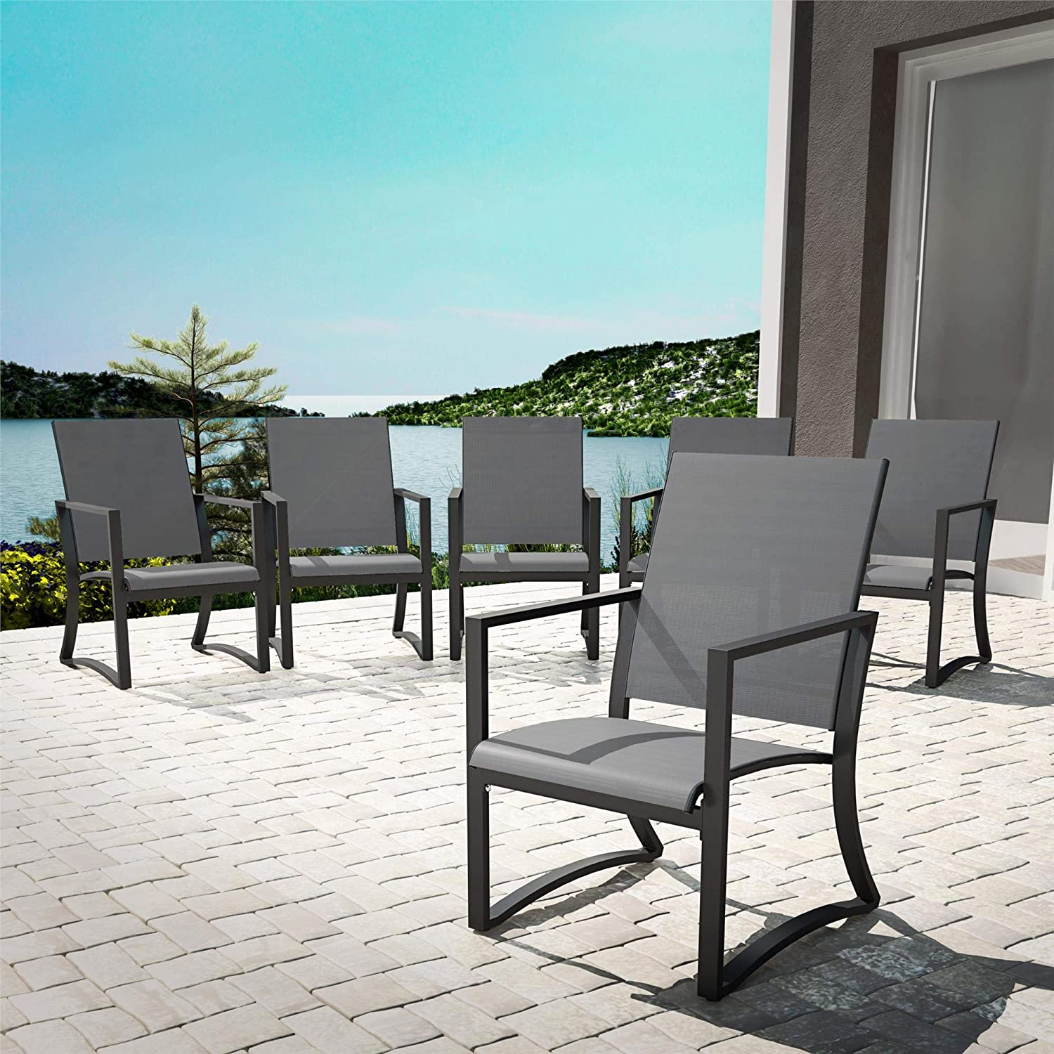 Cosco Outdoor Living 88681LGCE Cosco Outdoor Furniture Dining Chairs, Charcoal: Garden & Outdoor