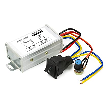 UCTRONICS DC Motor Speed Controller, DC 9-60V 10A,Stepless Motor Speed  Controller with Ajustable Potentiometer and Forward-Brake-Reverse Switch  for DC