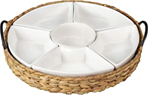 RANDEFURN Ceramic Serving Tray,Food Tray 15.5 x 15.5 Inches ,Divided Serving Platter with 6 Removable Dishes , Portable Handle Cattail Serving Bowls,Serving Trays,Perfect for or Chips and Dip,Nature