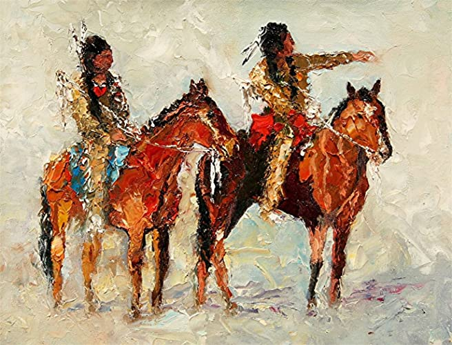 As the Crow Flies, Native American Sioux Indians Limited Edition, Signed  and Numbered Print by Andre Dluhos