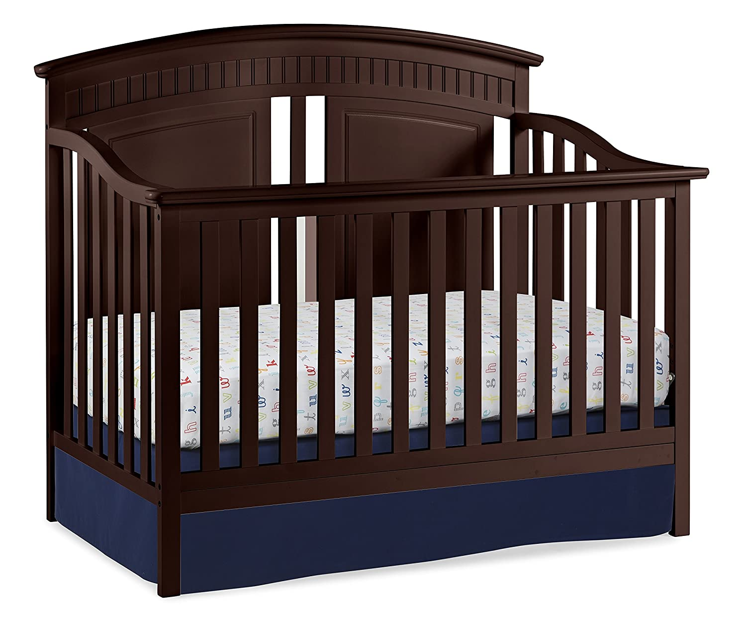 Thomasville Kids Majestic 4-in-1 Convertible Crib, Espresso, Easily Converts to Toddler Bed Day Bed or Full Bed, Three Position Adjustable Height Mattress, Some Assembly Required 04565-109