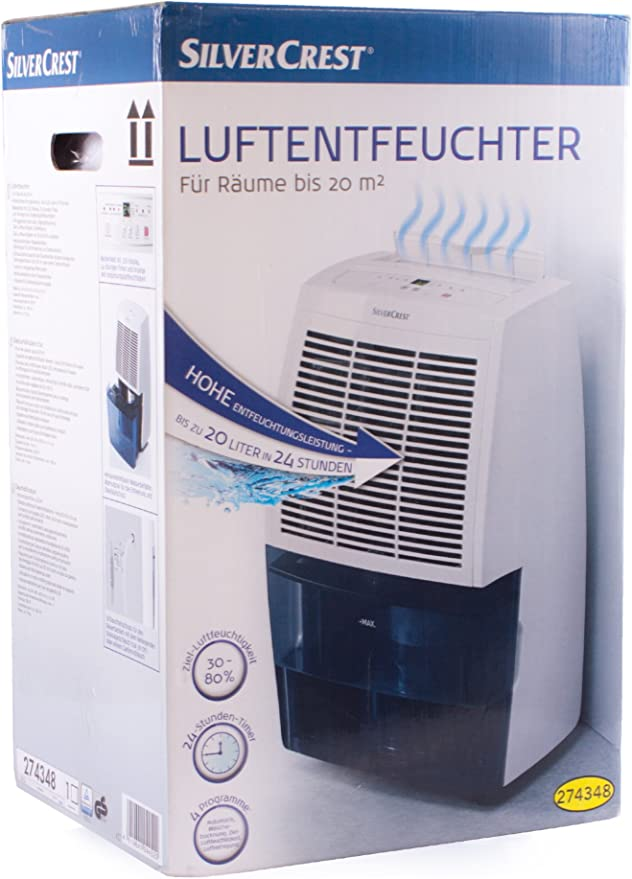 Silvercrest – Deshumidificador 20 L/24h – Móvil – Depósito de agua ...