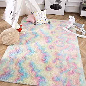 Ultra Fluffy Cute Rainbow Area Rugs for Girls Room Bedroom Living Room, Modern Indoor Carpets Fuzzy Colorful Rug Soft Kids Playmats for Baby Nursery Princess Room Dorm Home Decor, 3x5 Feet