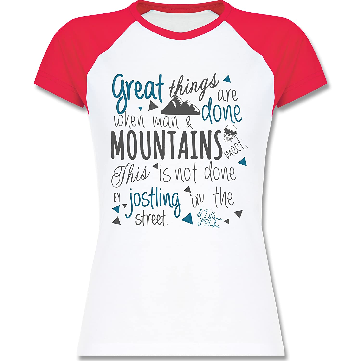 Après Ski - Great things happen Mountain - zweifarbiges Baseballshirt / Raglan T-Shirt für Damen
