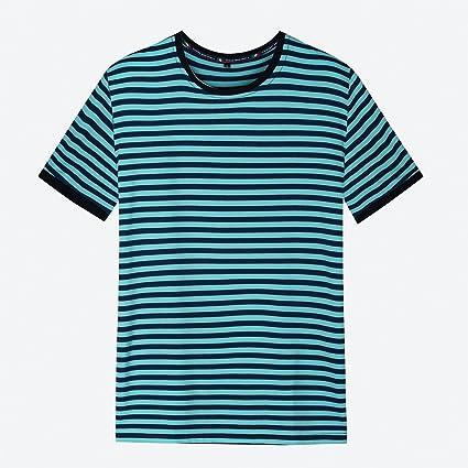L&KK Camiseta De Manga Corta Diaria Para Hombres Camisetas Sin Mangas De Rayas Negras Y Blancas