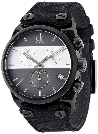 Calvin Klein Reloj Cronógrafo para Hombre de Cuarzo con Correa en Tela K4B384B3: Amazon.es: Relojes