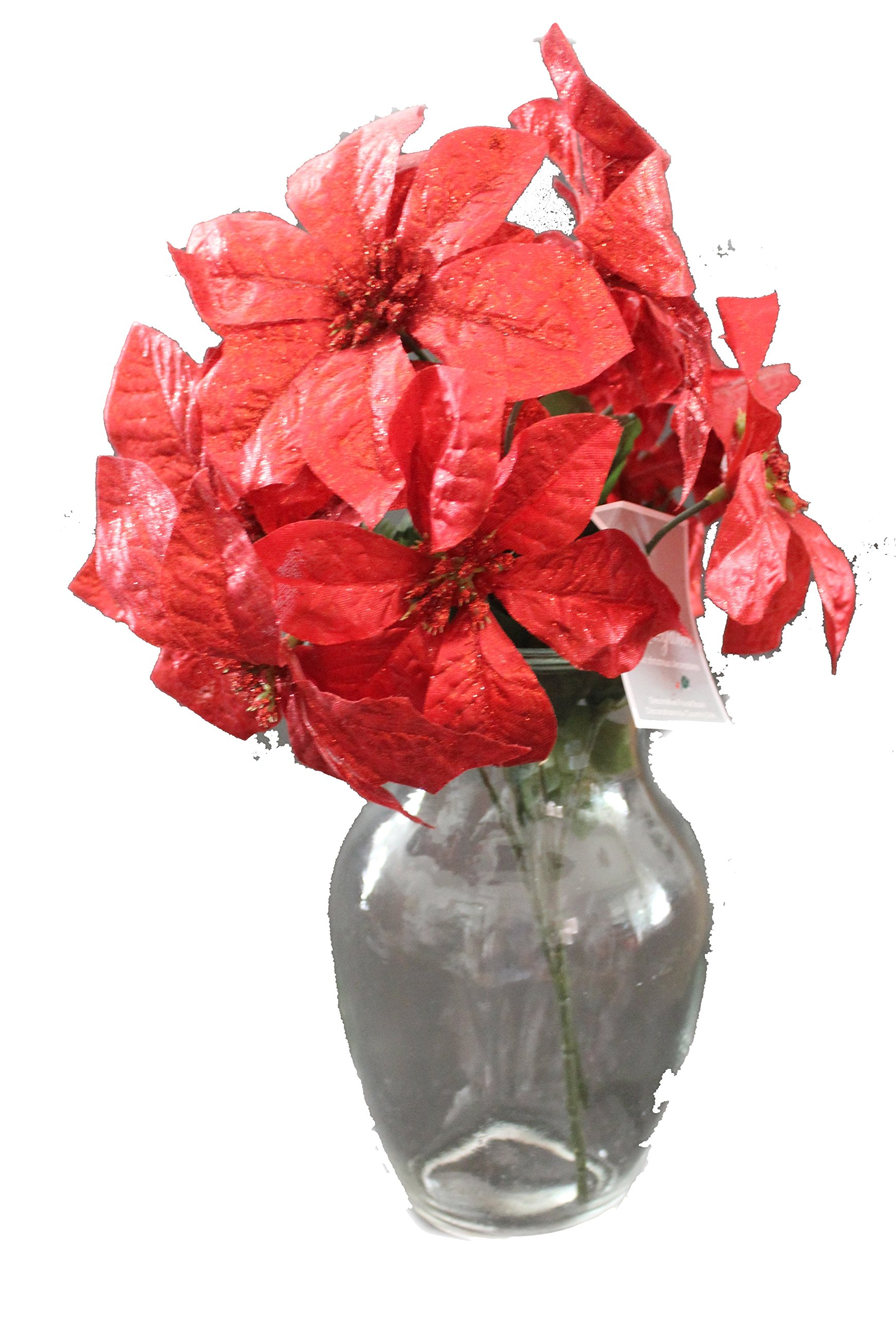 """silk flower arrangements set of 2 14"""" sparkling christmas bush with artificial 6"""" poinsettia flowers (red)"""