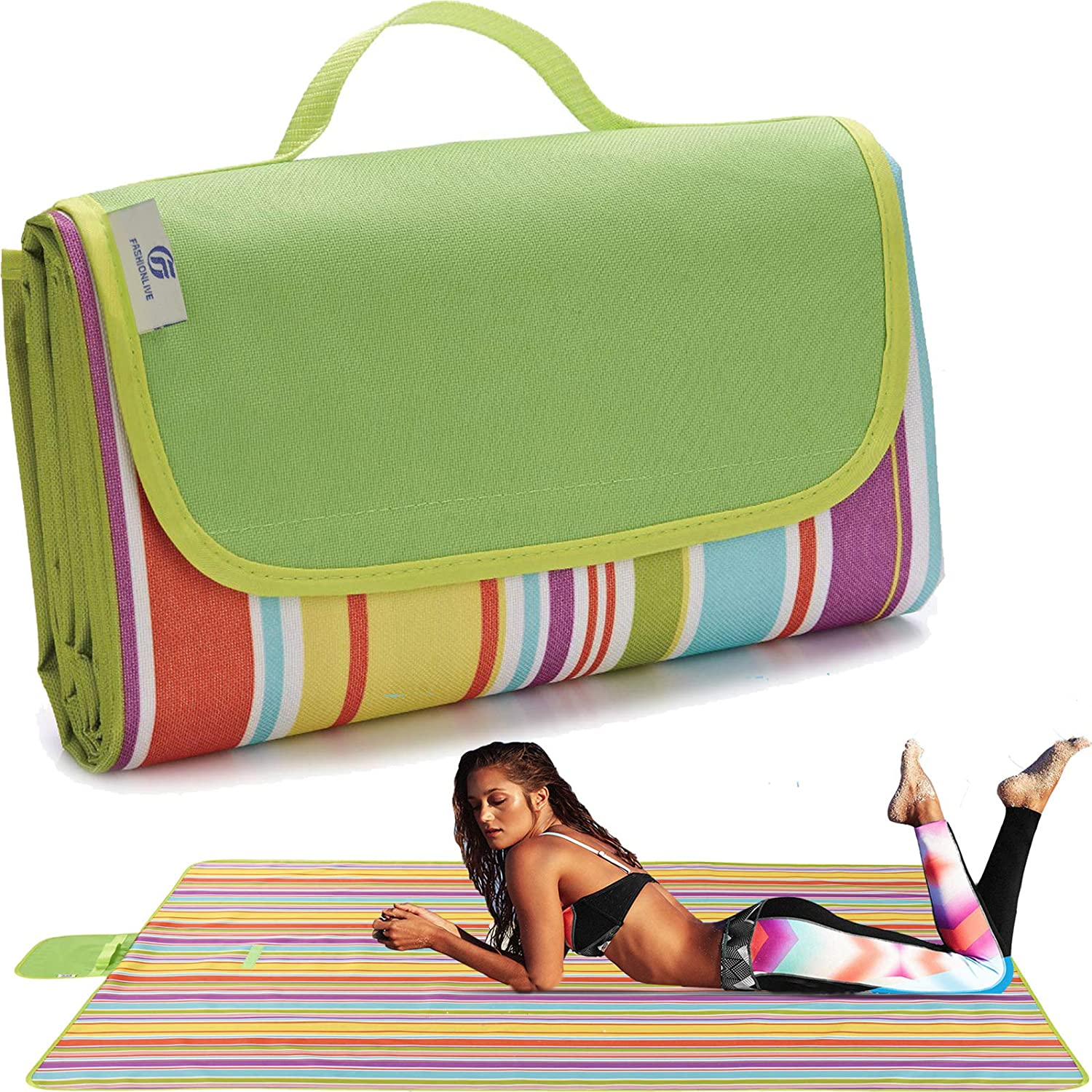 Fashionlive Picnic Blanket Extra Large Big Beach Blanket Outdoor Blanket Waterproof Sand Free Oversized Camping Mat Foldable Portable Handy Tote for Travel Sports Home Yoga Park Grass Picnic