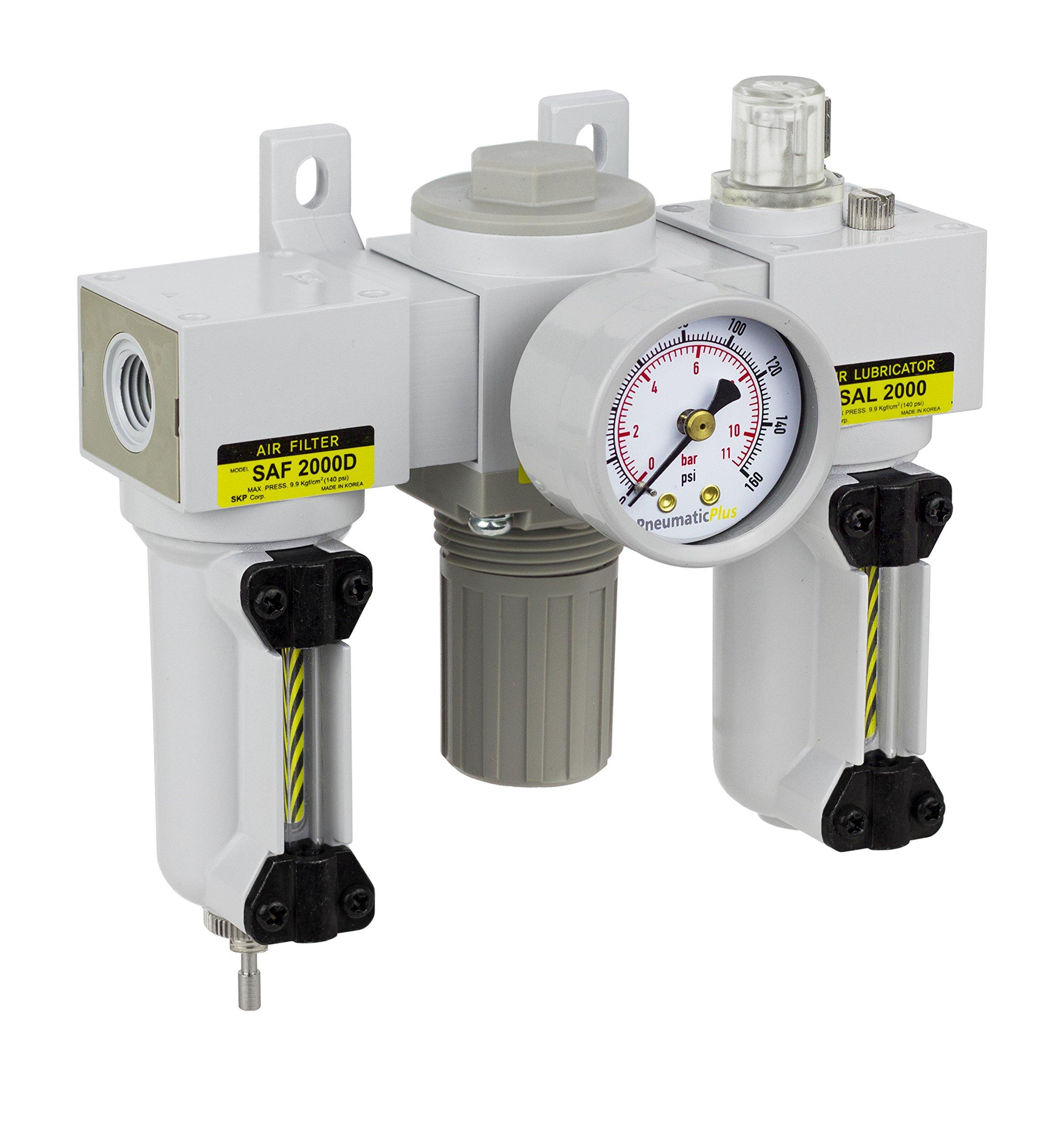 PneumaticPlus SAU2000M-N02G-MEP Mini Three-Unit Combo Compressed Air Filter Regulator Lubricator FRL, Air Preparation Unit 1/4'' NPT - Metal Bowl, Manual Drain, Gauge by PneumaticPlus