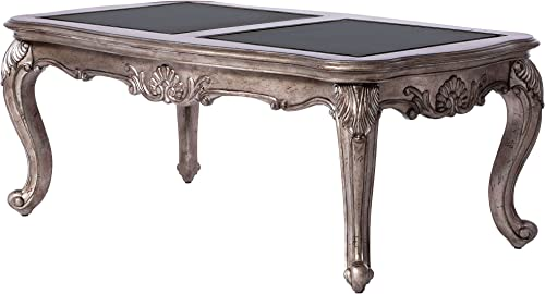 ACME Furniture 80540 Chantelle Coffee Table, Black Granite Antique Platinum
