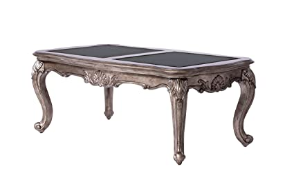 Beau ACME Furniture 80540 Chantelle Coffee Table, Black Granite/Antique Platinum