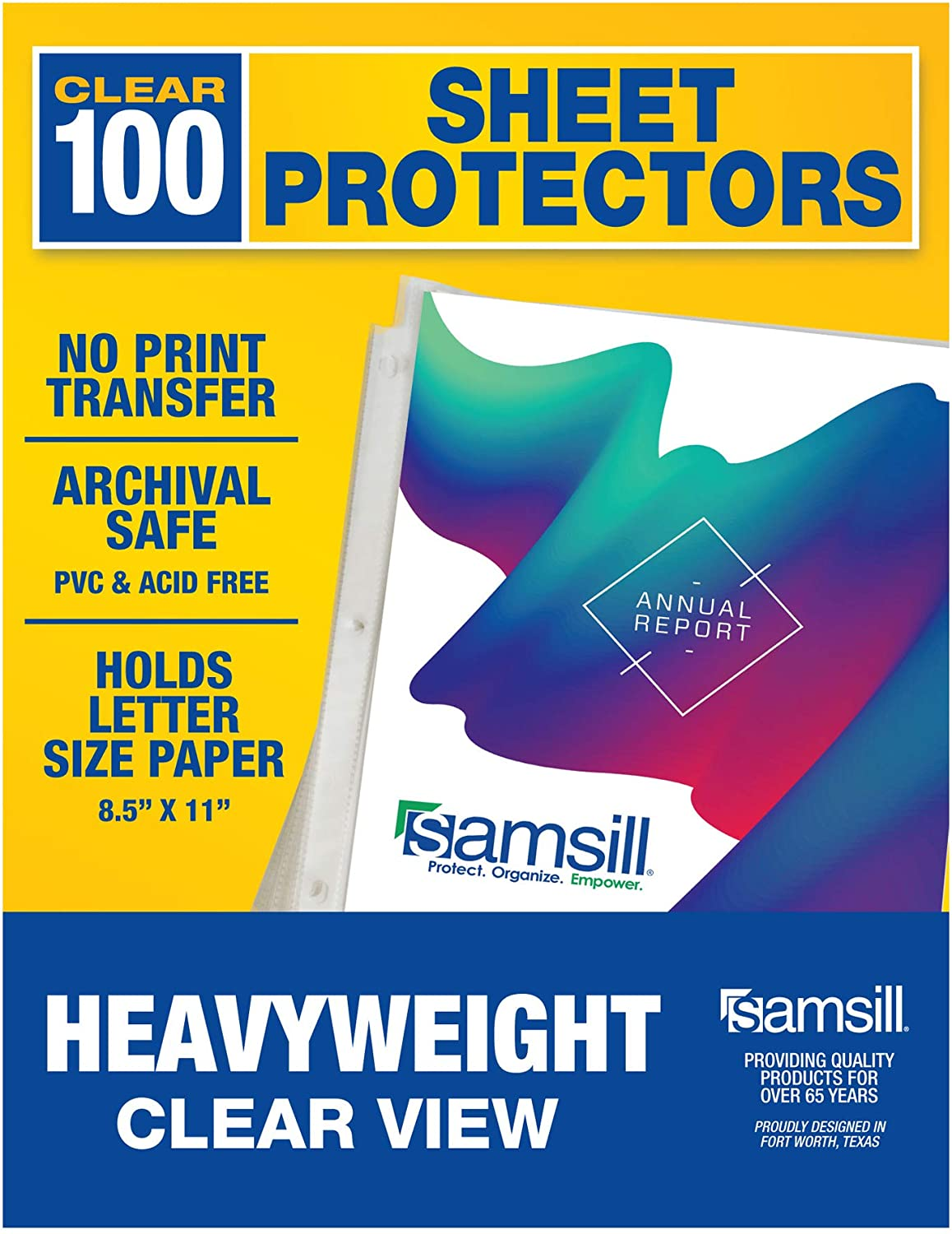 Samsill 100 Clear Heavyweight Sheet Protectors, Reinforced 3 Hole Design Plastic Page Protectors, Archival Safe, Top Load for 8.5 x 11 Inch Sheets, Box of 100