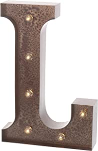 """Barnyard Designs Metal Marquee Letter L Light Up Wall Initial Wedding, Home and Bar Decoration 12"""" (Rust)"""