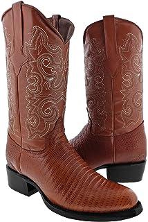 Mens Cognac Teju Lizard Print Leather Cowboy Boots 8.5 E US Team West