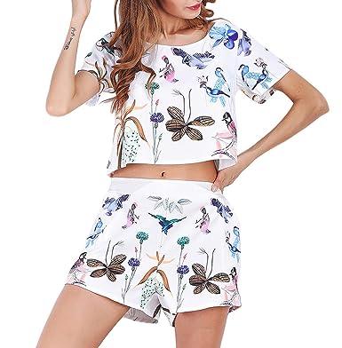 2b739b4317ea Zcaosma Women Two Piece Set Floral Animal Print O-Neck Short Sleeve Top  Shorts Set