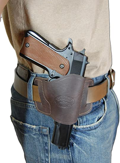 New Barsony Brown Leather Gun Quick Slide Holster Taurus Compact 9mm 40 45