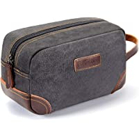 emissary Men's Toiletry Bag Leather and Canvas Travel Toiletry Bag Dopp Kit for Men Shaving Bag for Travel Accessories…