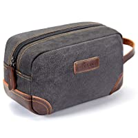 emissary Men's Toiletry Bag Leather and Canvas Travel Toiletry Bag Dopp Kit for Men Shaving Bag for Travel Accessories (Gray)