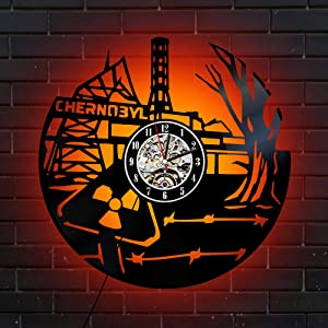 Levescale - Chernobyl Lighted Vinyl Wall Clock Nuclear - Perfect Power Plant Gift for Scientist - Decoration for Office, Classroom - Radiation Reactor Ukraine Radioactive (red)