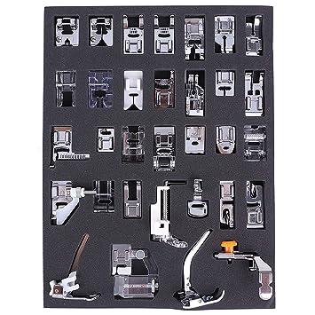 Aozzy 32pcs doméstica Máquina de coser Presser Foot Kit para BROTHER, BUTTERFLY, SINGER, ACME, JANOME, FY, YOKOYAMA, JUKI, IKEA, etc.: Amazon.es: Hogar