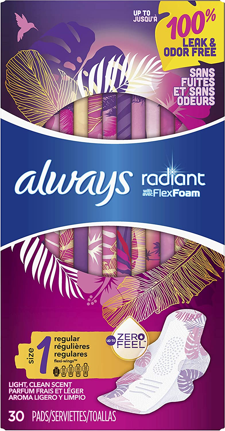 Always Radiant Feminine Pads for Women, Size 1, Regular Absorbency, Light Clean Scent, 30 Count- Pack of 6 (180 Count Total) (Artwork May Vary)