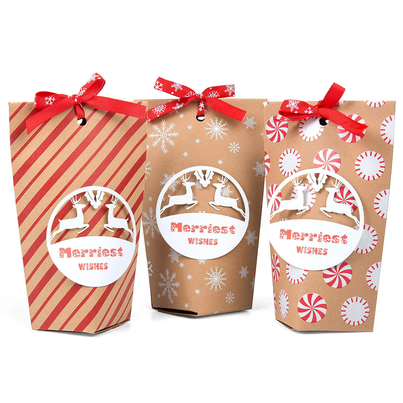per Feste Natalizie matrimonio Czoele 24 pezzi Kraft Sacchetti Regalo Sacchetti di Carta in carta con 24 nastri fiocco di neve rosso 3 Stile, 10 x7.5x16cm compleanno Scatole Regalo di Natale