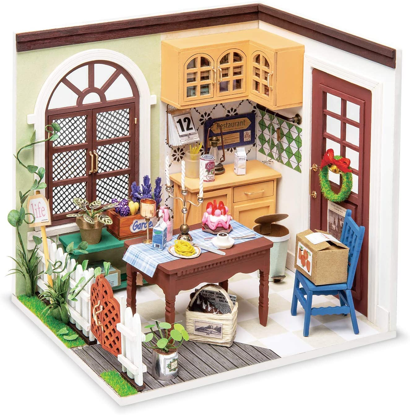 ROBOTIME DIY Miniature Dollhouse Kit Mini House with Furnitures 1:24 Scale Craft Kit - Mrs Charlie's Dining Room