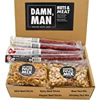 Beef Jerky Gift Basket with Nuts – Great Variety Beef Stick Snack Box – Includes Premium Beef Sticks and Flavored Nuts…